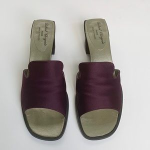 ROBERT CLERGERIE Wine Satin Mules
